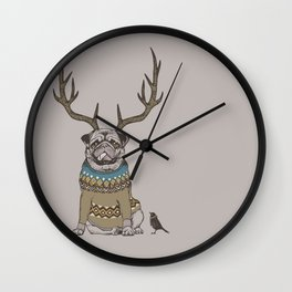 Deer Pug Wall Clock