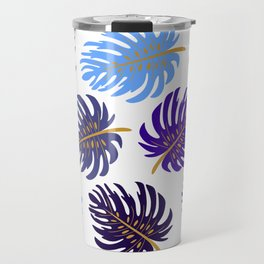 Modern Tropics in Gold Travel Mug