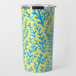 Yellow and Blue Floral Leaves Gouache Pattern Travel Mug
