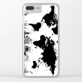 world map city skyline 4 Clear iPhone Case