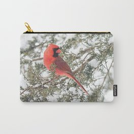Cardinal on a Snowy Cedar Branch (sq) Carry-All Pouch