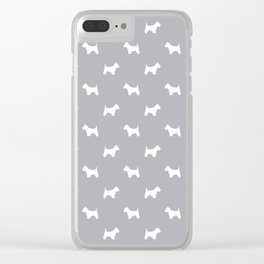 West Highland Terrier dog pattern minimal dog lover gifts grey and white Clear iPhone Case