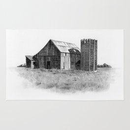 Pencil Art, Old Wooden Barn and Wooden Silo, Country Scene Rug