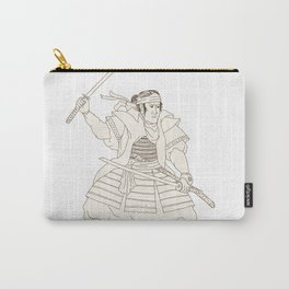 Samurai Warrior Katana Fight Stance Woodblock Carry-All Pouch