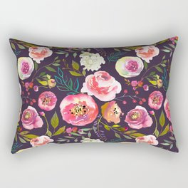 Floral watercolor chalk print pink peonies Rectangular Pillow