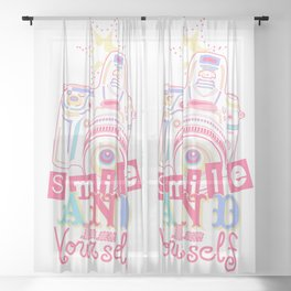Smile and be Yourself - Pastel Camera Sheer Curtain