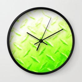Lime Green Industrial Metal Sheeting Digital Photo Edited Wall Clock