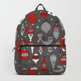 Ornaments christmas vintage classic red and white hand drawn christmas tree ornament pattern Backpack