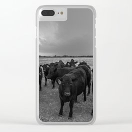 Hanging Out - Black and White Photo of Cows in Kansas Clear iPhone Case