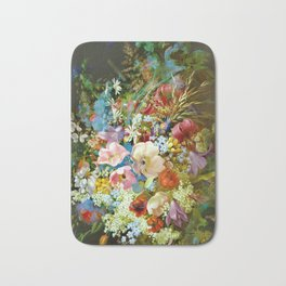 Abundant vintage happy spring flowers Bath Mat