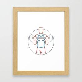 Athlete Lifting Barbell Neon Sign Framed Art Print
