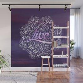 Inspirational  Word Cloud Art in Lotus Wall Mural