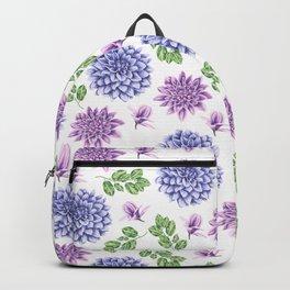 Artistic purple blue green watercolor elegant peonies floral Backpack