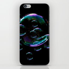 IRIDESCENT SOAP BUBBLES  BLACK COLOR iPhone Skin