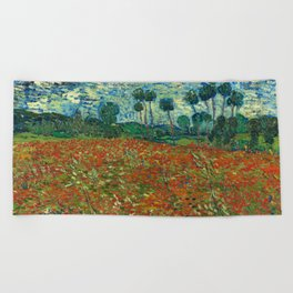 Vincent Van Gogh Poppy Field Beach Towel