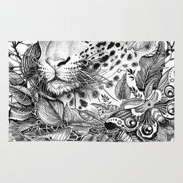 black and white jungle leopard Rug