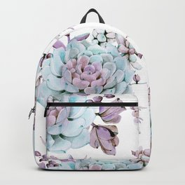 Turquoise and Violet Succulents Backpack