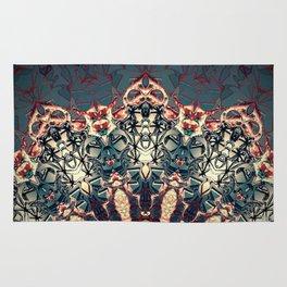 Teal Beige Textured Half Mandala Rug
