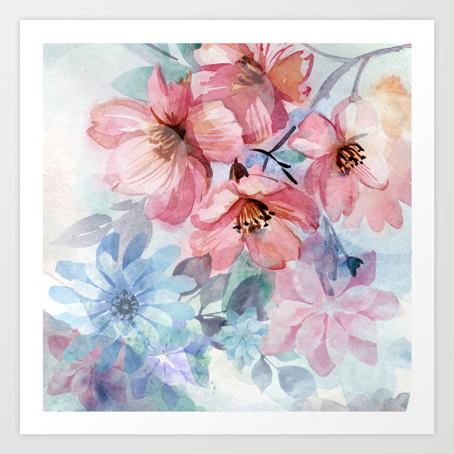 Watercolor Spring Flowers Background Art Print By Drawfine Society6