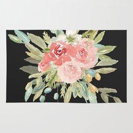 Loose Watercolor Rose Bouquet Dark Background Rug
