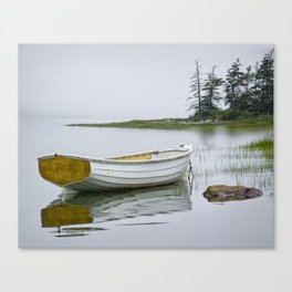 White Maine Boat on a Foggy Morning Canvas Print