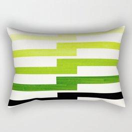 Minimalist Mid Century Modern Sap Green Watercolor Painting Lightning Bolt Zig Zag Pattern With Blac Rectangular Pillow