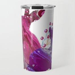 Easter Bunny Fluid Marble Acrylic Art Spring Purple Pink Rabbit Travel Mug