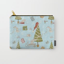 From Mice And Christmas - Cute teal X-Mas Pattern Carry-All Pouch