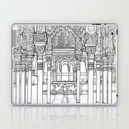 Alhambra palace, Granada, Andalucia - Spain-Black & White Laptop & iPad Skin