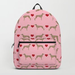 Whippet love hearts dog breed pet portrait whippets pure breed dog gifts Backpack