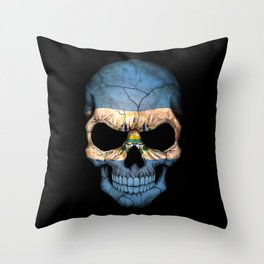 Dark Skull with Flag of El Salvador Throw Pillow