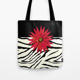 Animal Print Zebra Black and White and Red flower Medallion Tote Bag