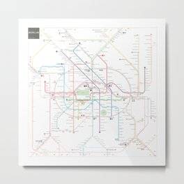 Germany Berlin Metro Bus U-bahn S-bahn map Metal Print