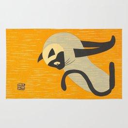 Asai Kiyoshi Japanese Woodblock Siamese Cat Midcounty Modern Art Rug