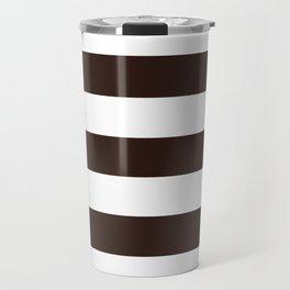 Tamarind brown - solid color - white stripes pattern Travel Mug