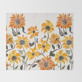 Sunflower Watercolor – Yellow & Black Palette Throw Blanket