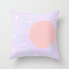 Memphis Summer Lavender Waves Throw Pillow