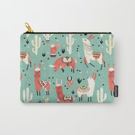 Llamas and cactus in a pot on green Carry-All Pouch