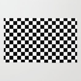 Black and White Checkerboard Pattern Rug