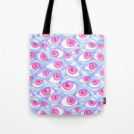 Wall of Eyes in Baby Blue Tote Bag