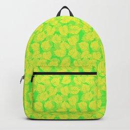 Big Monstera Tropical Leaf Hawaii Rain Forest Lemon Yellow and Lime Green Backpack