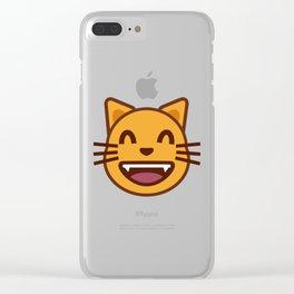 cat face emozy Clear iPhone Case