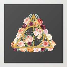 Watercolor Deathly Hallows - Gold/Charcoal Canvas Print