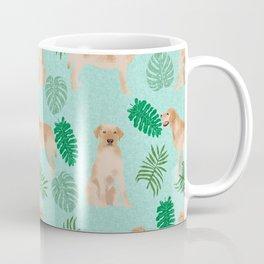 Yellow Lab summer monstera tropical pure breed dog gifts Coffee Mug