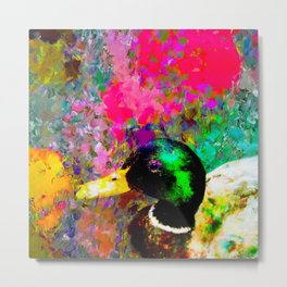 mallard duck with pink green brown purple yellow painting abstract background Metal Print