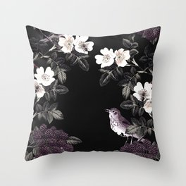 Blackberry Spring Garden Night - Birds and Bees on Black Throw Pillow