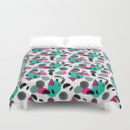 Cha Ching - abstract throwback memphis retro 80s 90s pop art grid shapes Duvet Cover