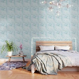 Aqua marine and white faux marble Wallpaper