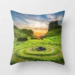 Green nature circle Throw Pillow