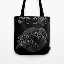 Aye Sir (White) Tote Bag